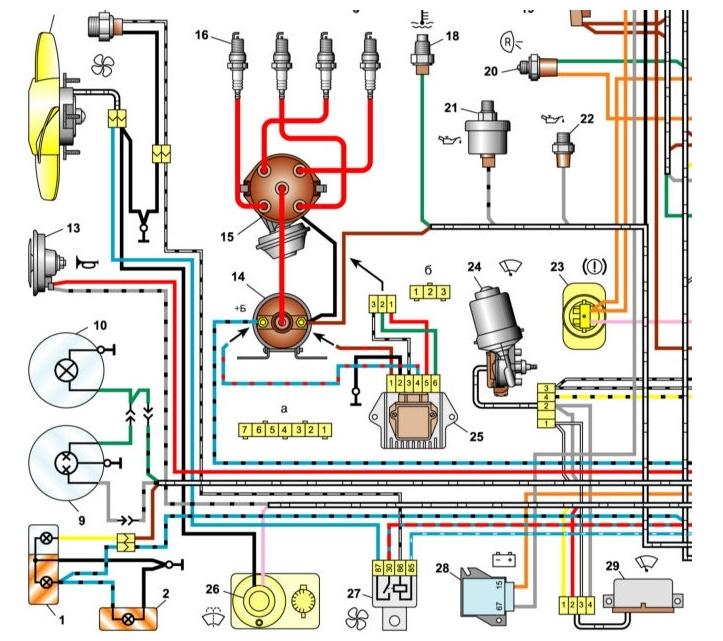Левая нижняя часть схемы электропроводки ВАЗ-2106