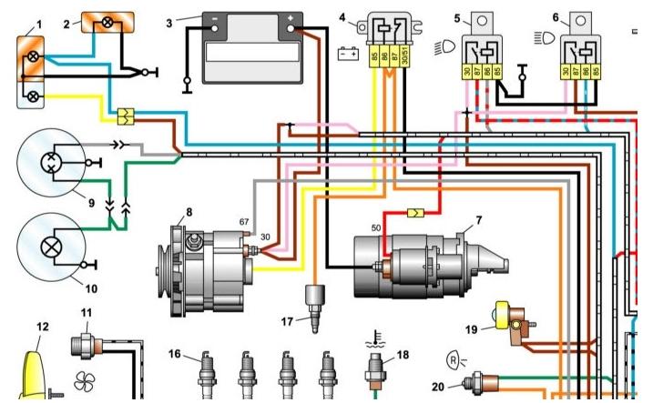 Левая верхняя часть схемы электропроводки ВАЗ-2106