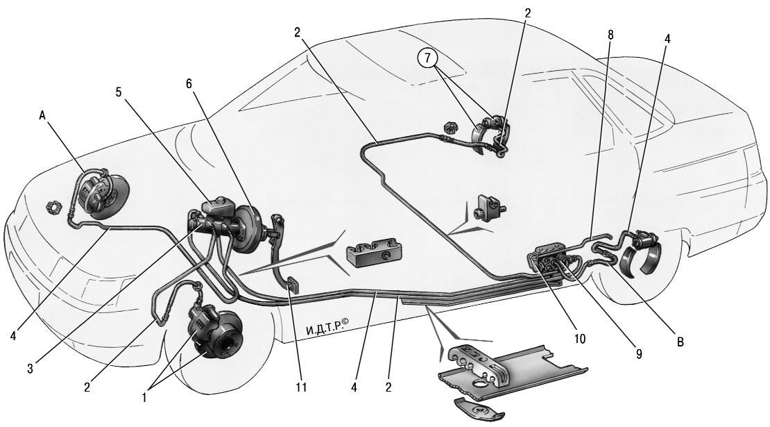 Схема тормозной системы ВАЗ 2110