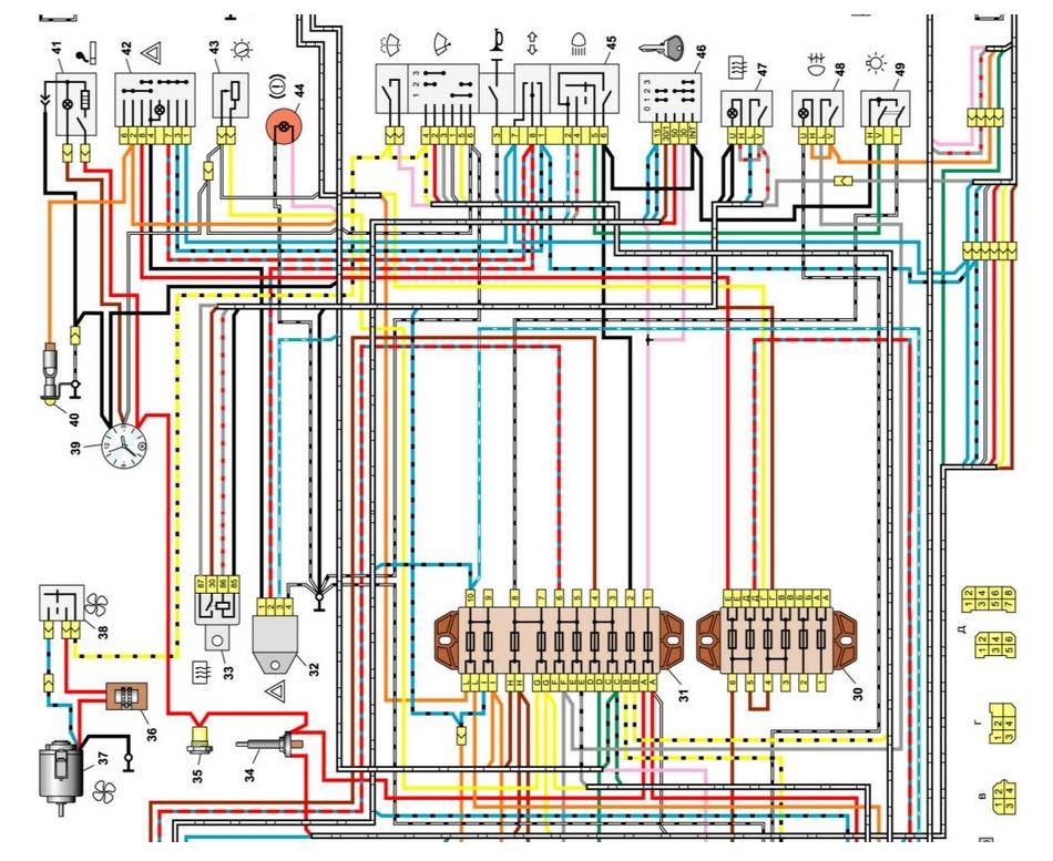 Центральная часть схемы электрооборудования ВАЗ-2106